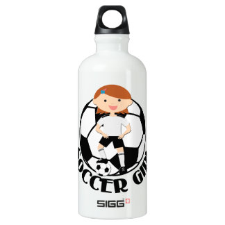 Soccer Girl 3 and Ball Black and White Water Bottle