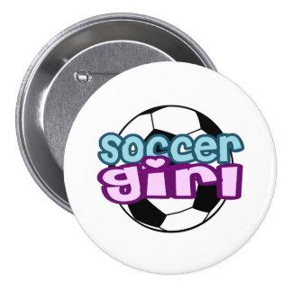Soccer Girl 3 Inch Round Button