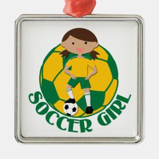 Soccer Girl 4 and Ball Green and Yellow v2 Square Metal Christmas Ornament