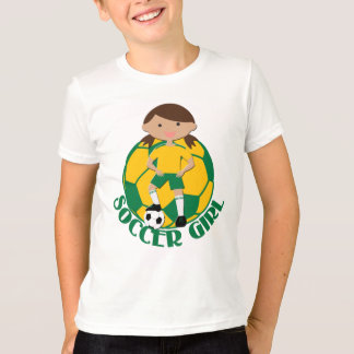 Soccer Girl 4 and Ball Green and Yellow v2 T-Shirt