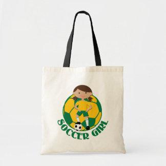 Soccer Girl 4 and Ball Green and Yellow v2 Tote Bag