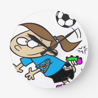 SOCCER GIRL AUTISM RIBBON ROUND CLOCK