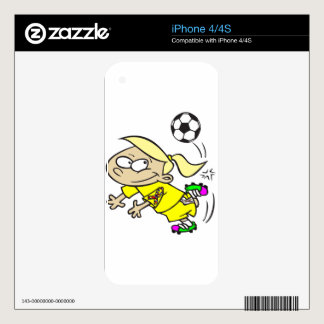SOCCER GIRL AUTISM RIBBON SKIN FOR THE iPhone 4