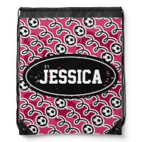 Soccer girl bag | Personalized drawstring backpack