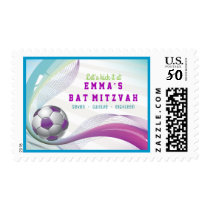 Soccer Girl Bat Mitzvah Invitation Postage Stamp