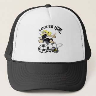 SOCCER GIRL BLACK TEXT TRUCKER HAT