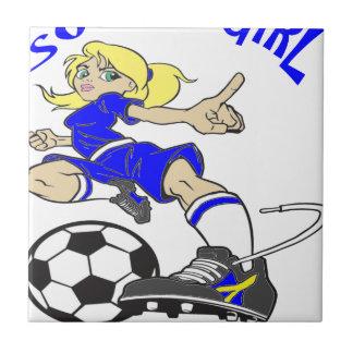 SOCCER GIRL BLUE TEXT TILE