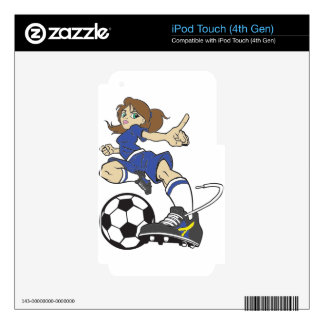 SOCCER GIRL BRUNETTE DECALS FOR iPod TOUCH 4G