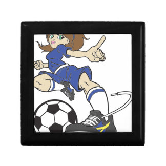 SOCCER GIRL BRUNETTE JEWELRY BOX