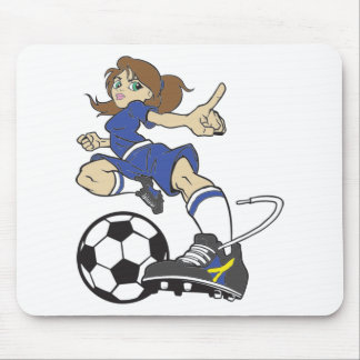 SOCCER GIRL BRUNETTE MOUSE PAD