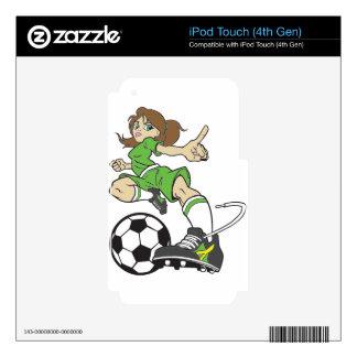 SOCCER GIRL BRUNETTE SKINS FOR iPod TOUCH 4G