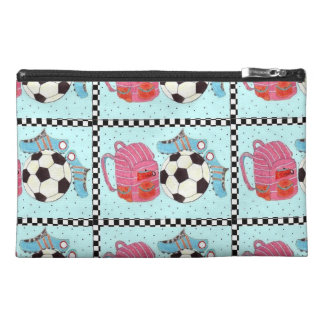 Soccer Girl Pink and Green Travel Accessory Bag