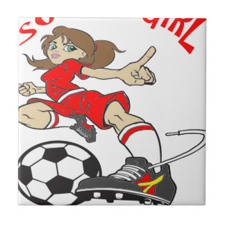 SOCCER GIRL RED TEXT CERAMIC TILE