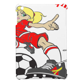 SOCCER GIRL RED TEXT iPad MINI COVERS