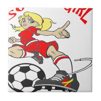 SOCCER GIRL RED TEXT TILE