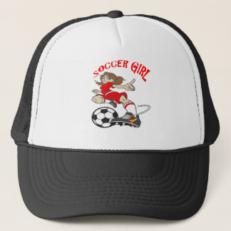 SOCCER GIRL RED TEXT TRUCKER HAT