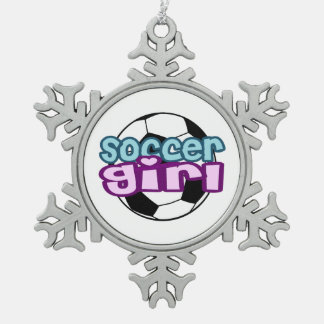 Soccer Girl Snowflake Pewter Christmas Ornament