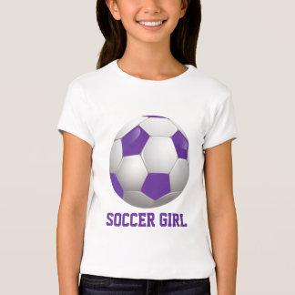Soccer Girl Soccer Ball Purple and White T-Shirt