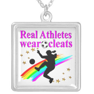 SOCCER GIRLS RULE THE WORLD SILVER PLATED NECKLACE