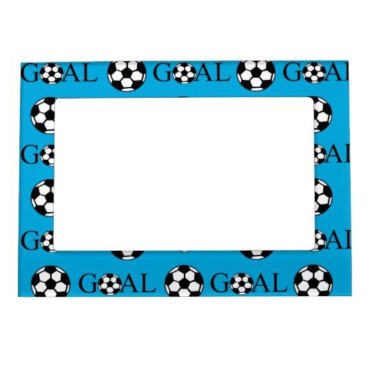 Soccer Goal Blue and White Magnetic Picture Frame | Zazzle.com