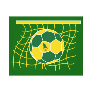Soccer Goal by J-MO-NET-GRN GLD Gallery Wrapped Canvas