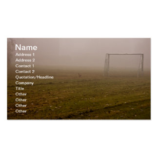 Soccer goal in fog business card