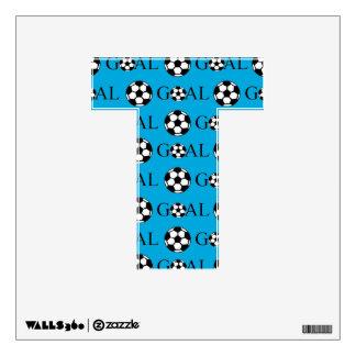 Soccer Goal Letter T Blue Wall Sticker