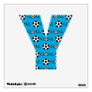 Soccer Goal Letter Y Blue Wall Decal
