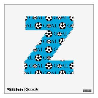 Soccer Goal Letter Z Blue Wall Stickers