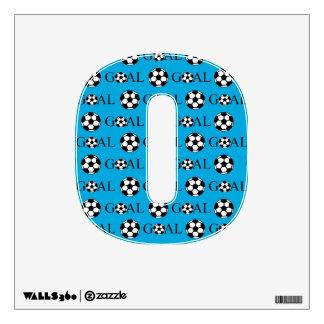 Soccer Goal Number 0 Blue Wall Sticker