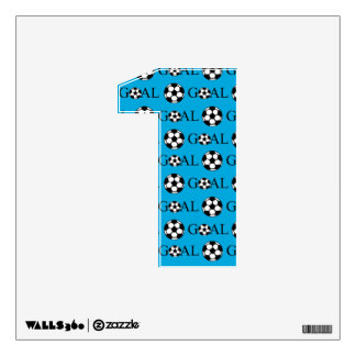 Soccer Goal Number 1 Blue Wall Sticker
