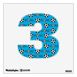 Soccer Goal Number 3 Blue Wall Decal