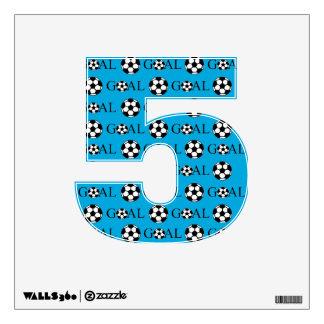 Soccer Goal Number 5 Blue Wall Sticker