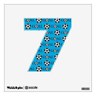 Soccer Goal Number 7 Blue Wall Sticker