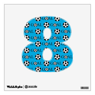 Soccer Goal Number 8 Blue Wall Decal
