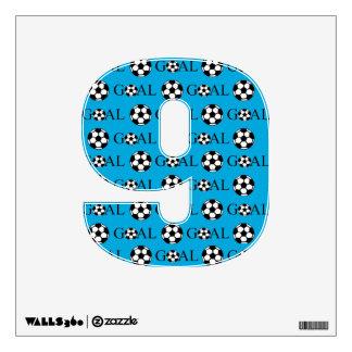 Soccer Goal Number 9 Blue Wall Sticker