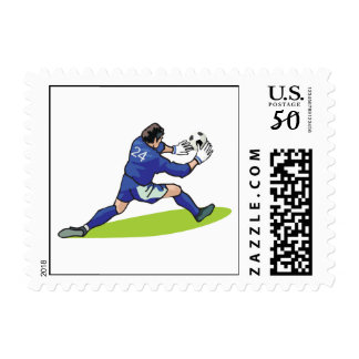 soccer goalie block graphic postage