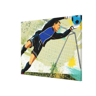 Soccer goalie blocking ball gallery wrapped canvas