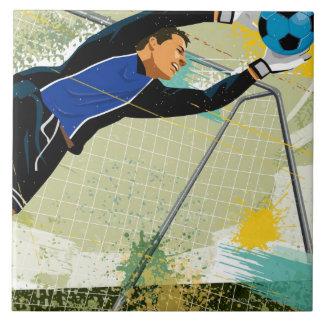 Soccer goalie blocking ball ceramic tile