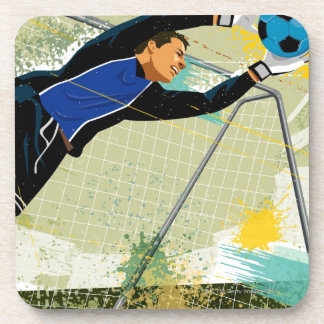 Soccer goalie blocking ball coaster