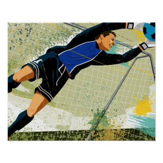 Soccer goalie blocking ball poster