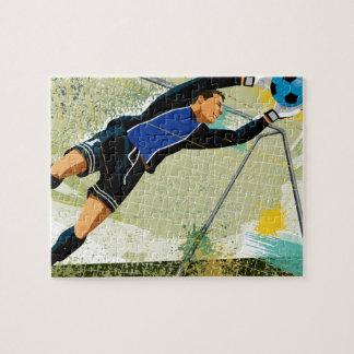Soccer goalie blocking ball puzzle