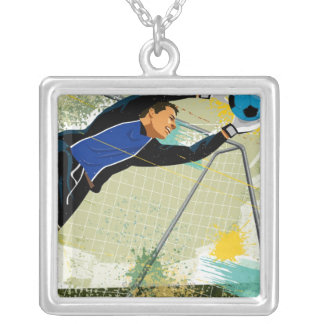 Soccer goalie blocking ball silver plated necklace