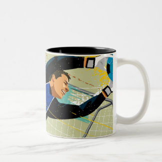 Soccer goalie blocking ball Two-Tone coffee mug