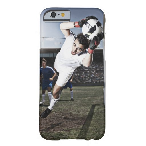Soccer goalie catching soccer ball barely there iPhone 6 case