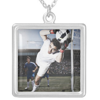 Soccer goalie catching soccer ball silver plated necklace