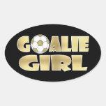 Soccer Goalie Girl Gold Oval Sticker