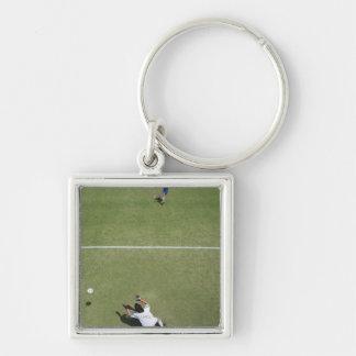 Soccer goalie missing soccer ball 2 key chain