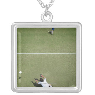 Soccer goalie missing soccer ball 2 silver plated necklace
