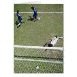 Soccer goalie missing soccer ball greeting cards